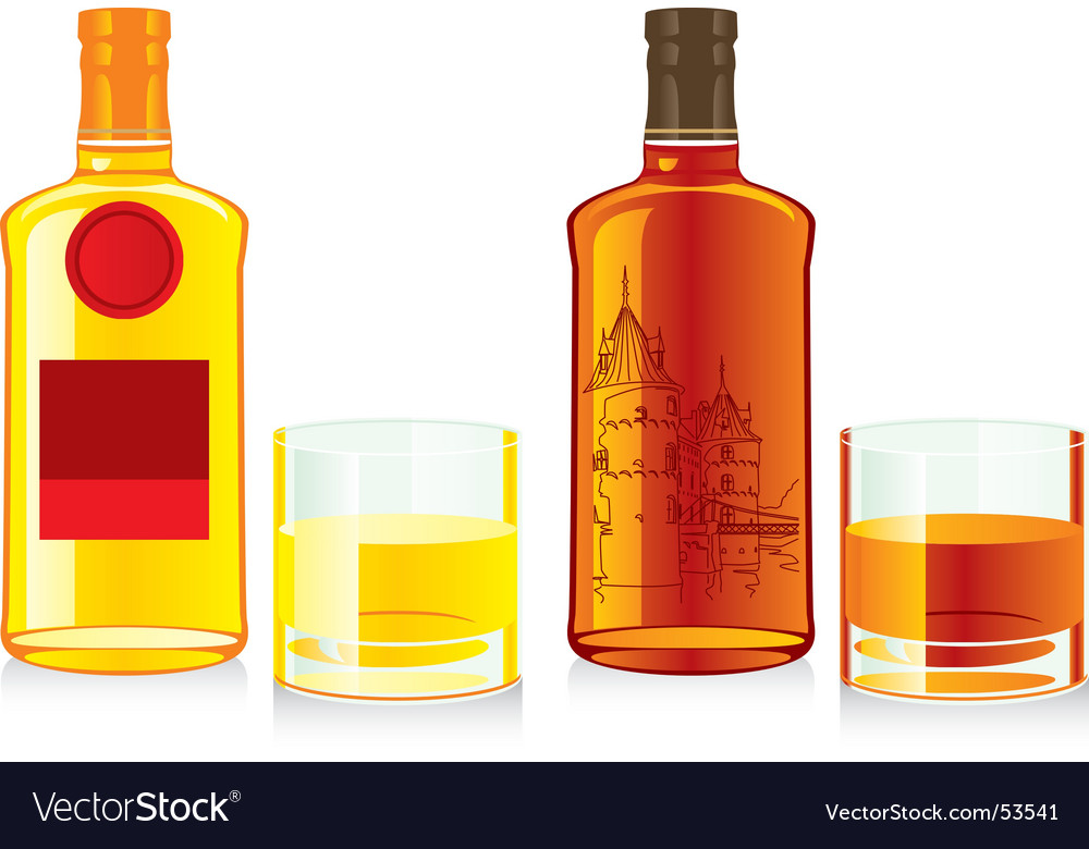 Whiskey bottles and glasses vector | Price: 1 Credit (USD $1)