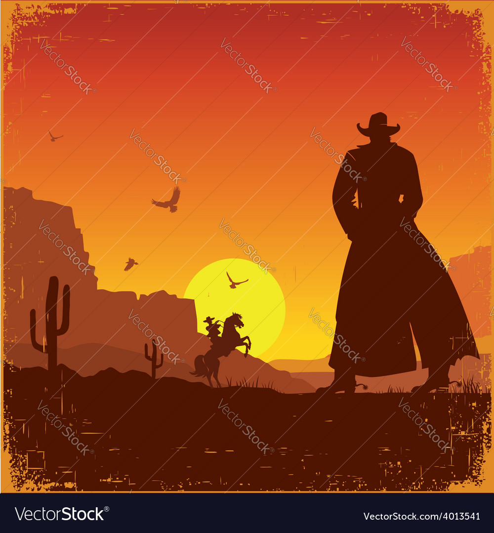 Wild west american landscape western poster vector | Price: 1 Credit (USD $1)