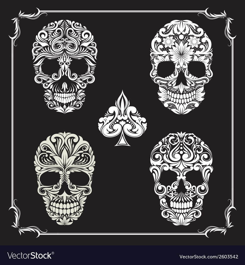 Bundle skull ornamental vector | Price: 1 Credit (USD $1)