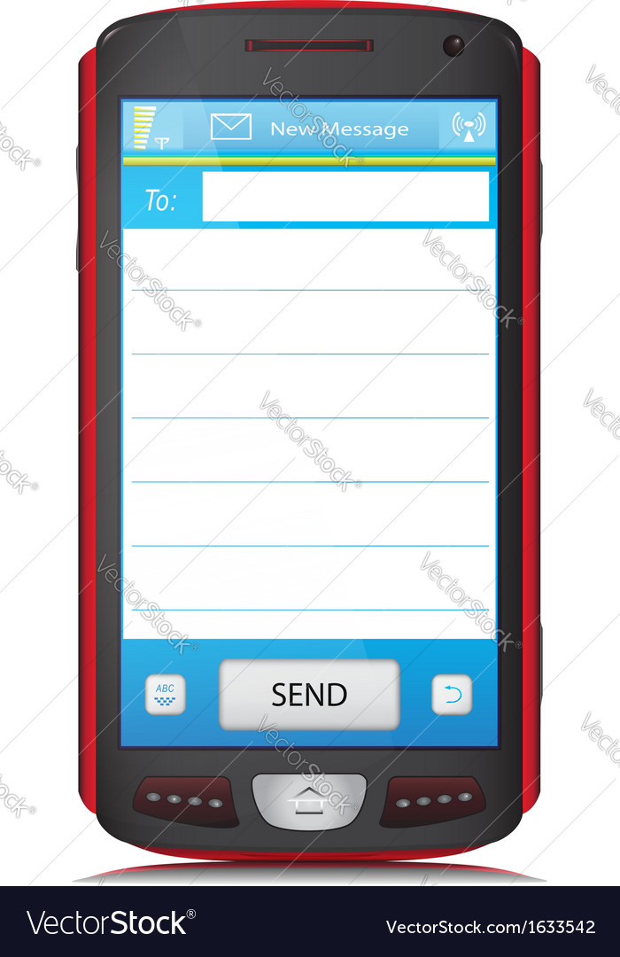 Copy space for sms text on touch screen phone vector | Price: 1 Credit (USD $1)