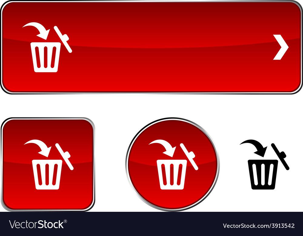 Delete button set vector | Price: 1 Credit (USD $1)