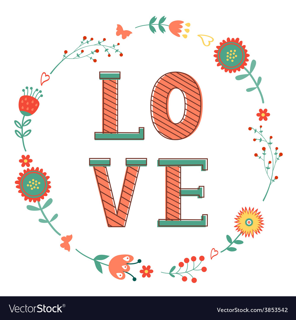 Elegant card with love word in wreath vector | Price: 1 Credit (USD $1)