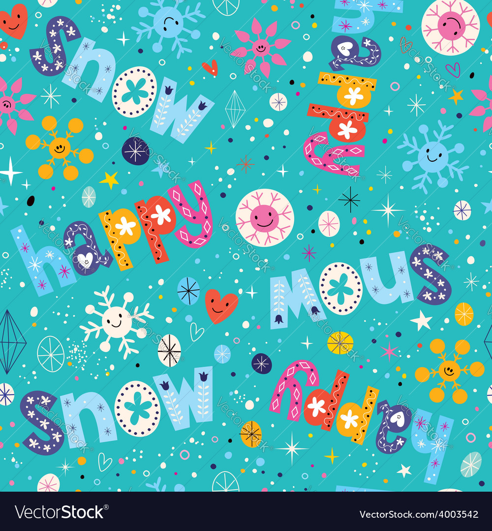 Happy snow winter seamless pattern vector | Price: 1 Credit (USD $1)