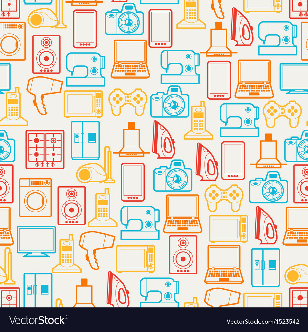Home appliances and electronics seamless patterns vector | Price: 1 Credit (USD $1)