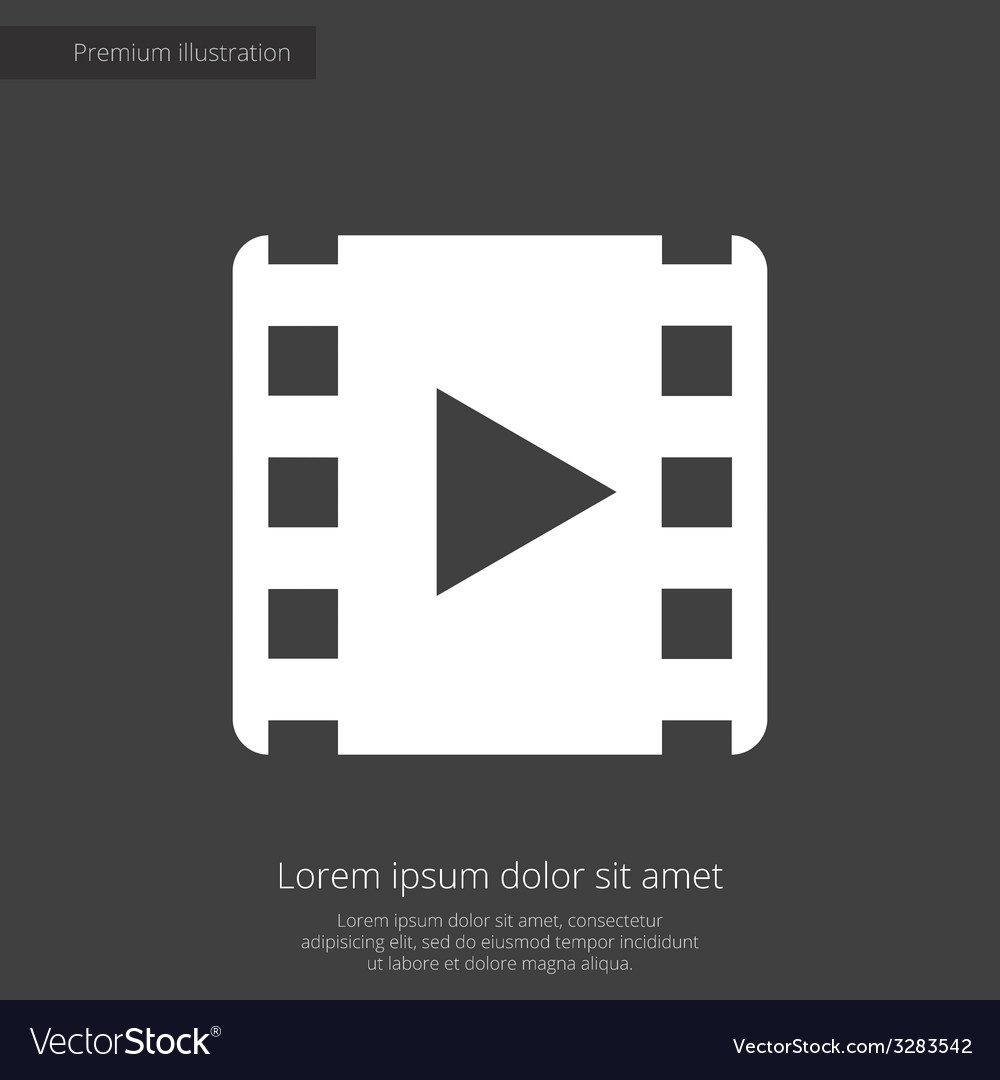 Media premium icon white on dark background vector   Price: 1 Credit (USD $1)