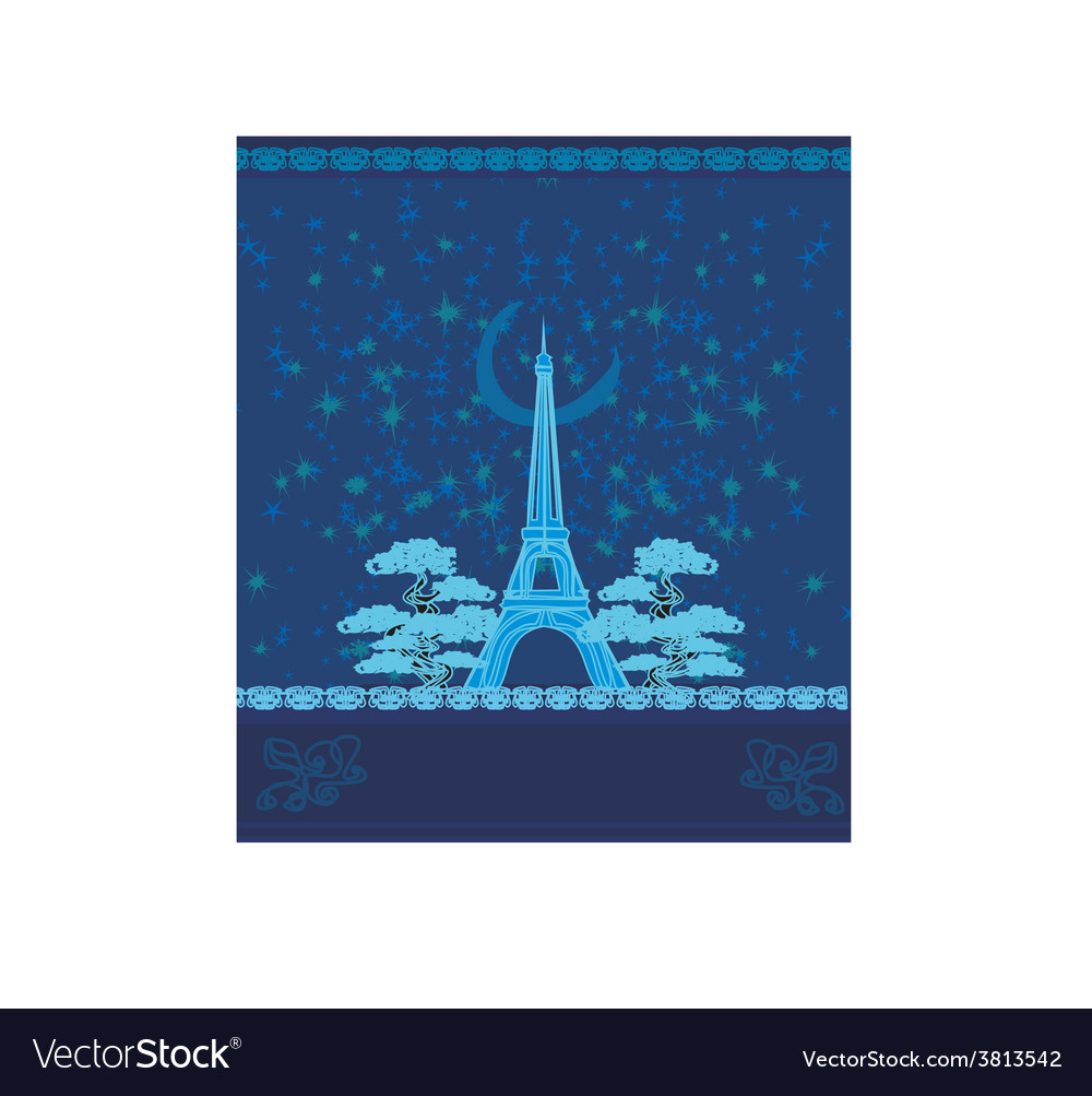 Paris in night vector | Price: 1 Credit (USD $1)