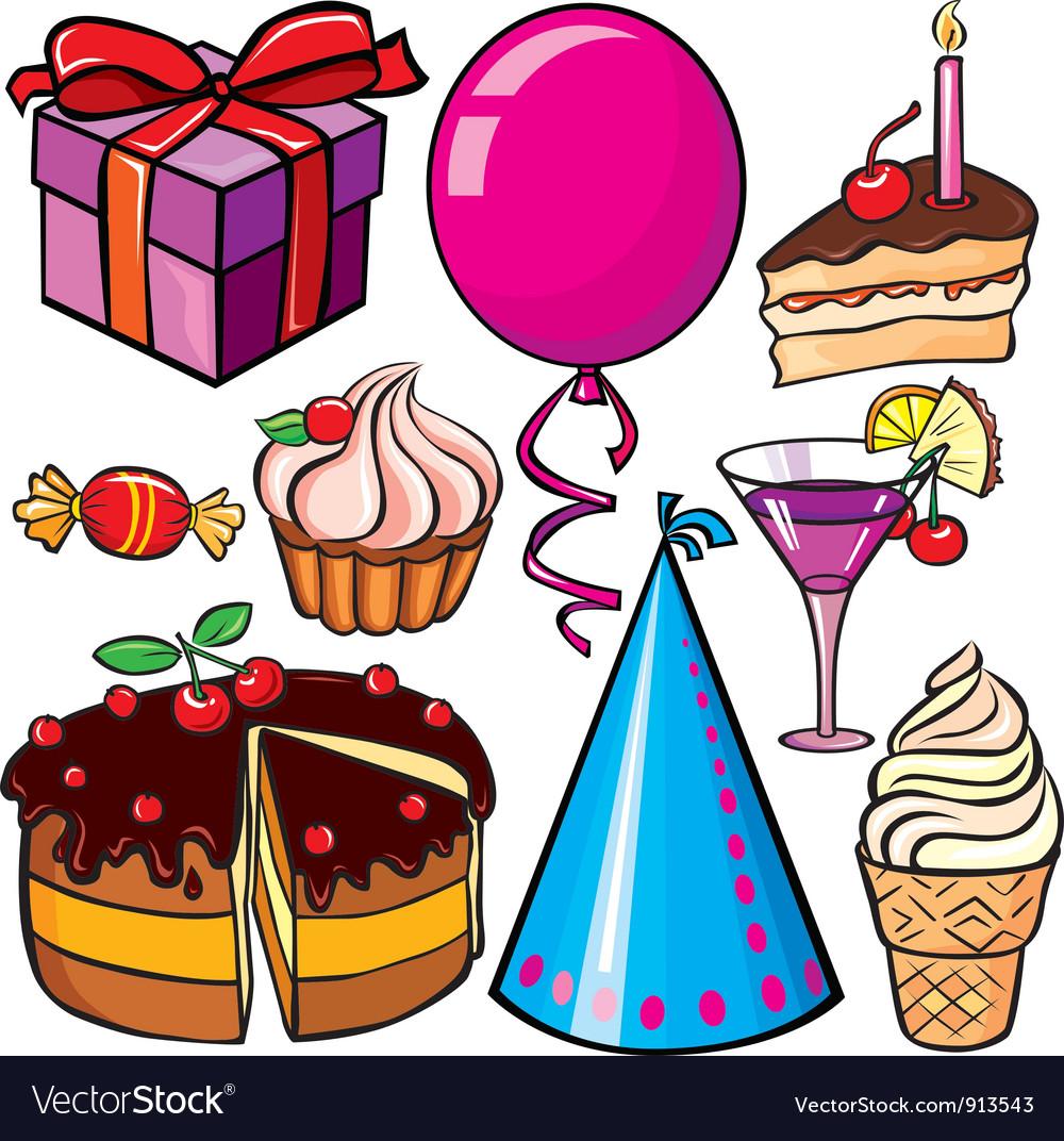 Birthday icon set vector | Price: 3 Credit (USD $3)