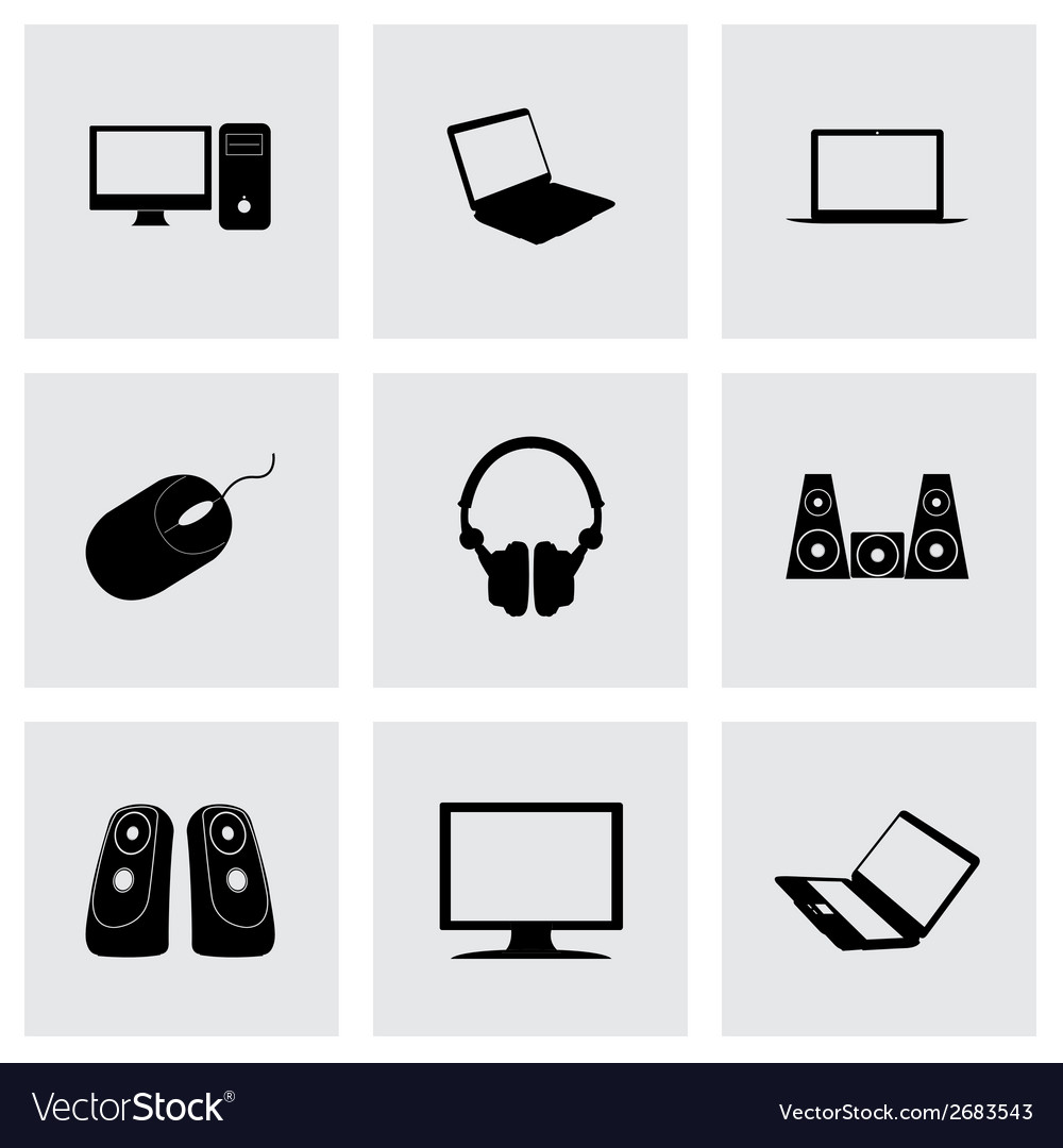 Black computer icons set vector | Price: 1 Credit (USD $1)