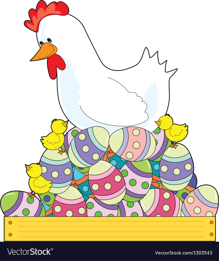 Chicken easter eggs vector | Price: 3 Credit (USD $3)
