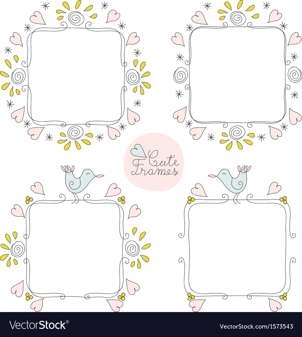 Doodle cute frames set vector | Price: 1 Credit (USD $1)