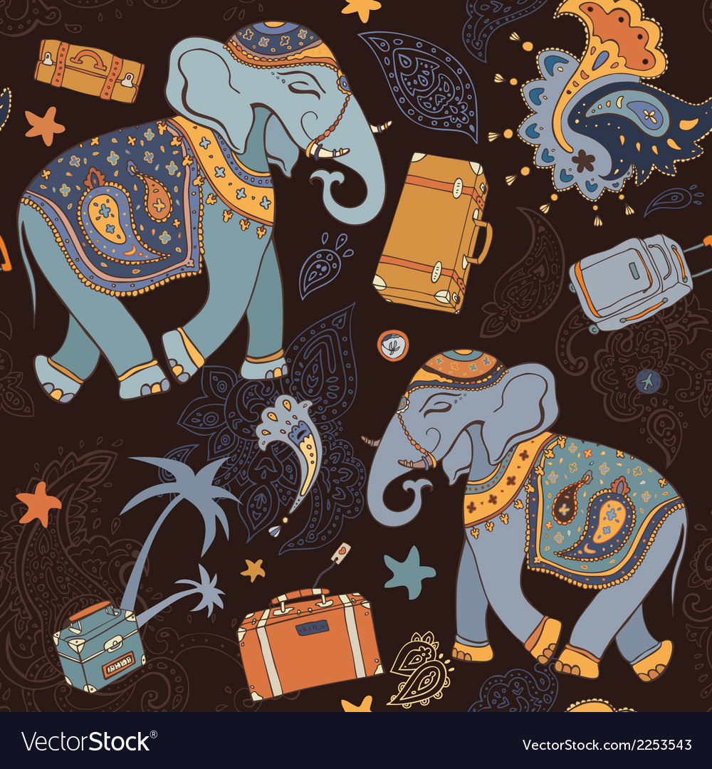 Elephant seamless pattern vector | Price: 1 Credit (USD $1)