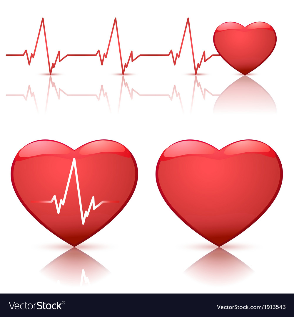 Hearts with heartbeat vector