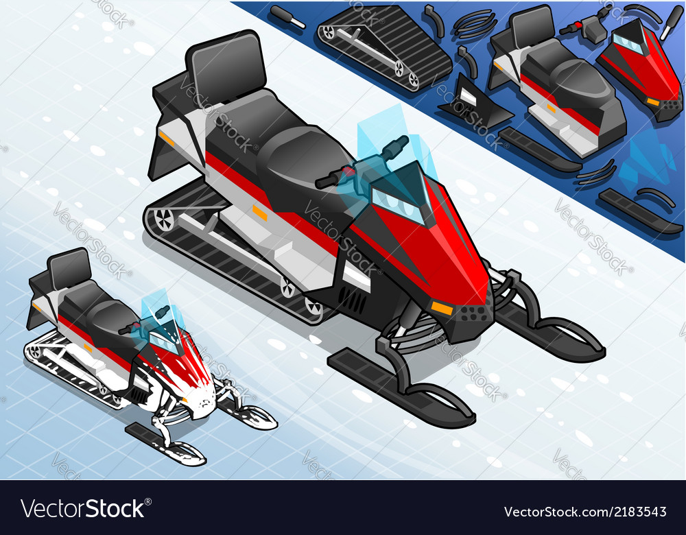 Isometric snowmobile motorbike in front view vector | Price: 1 Credit (USD $1)