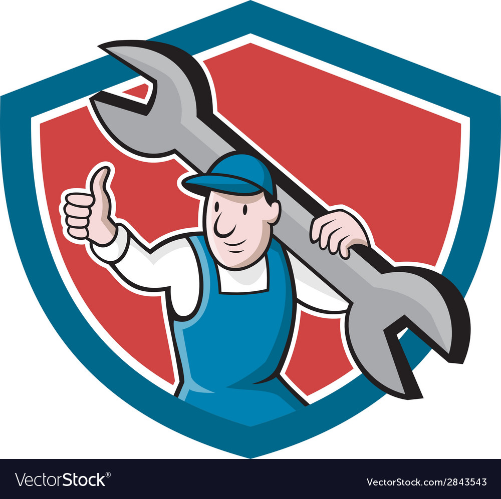 Mechanic thumbs up spanner shield cartoon vector | Price: 1 Credit (USD $1)