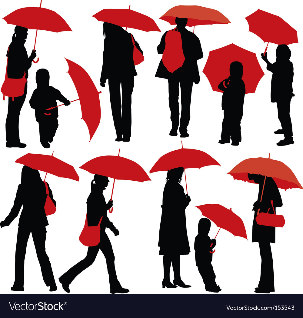 People with umbrellas vector | Price: 1 Credit (USD $1)