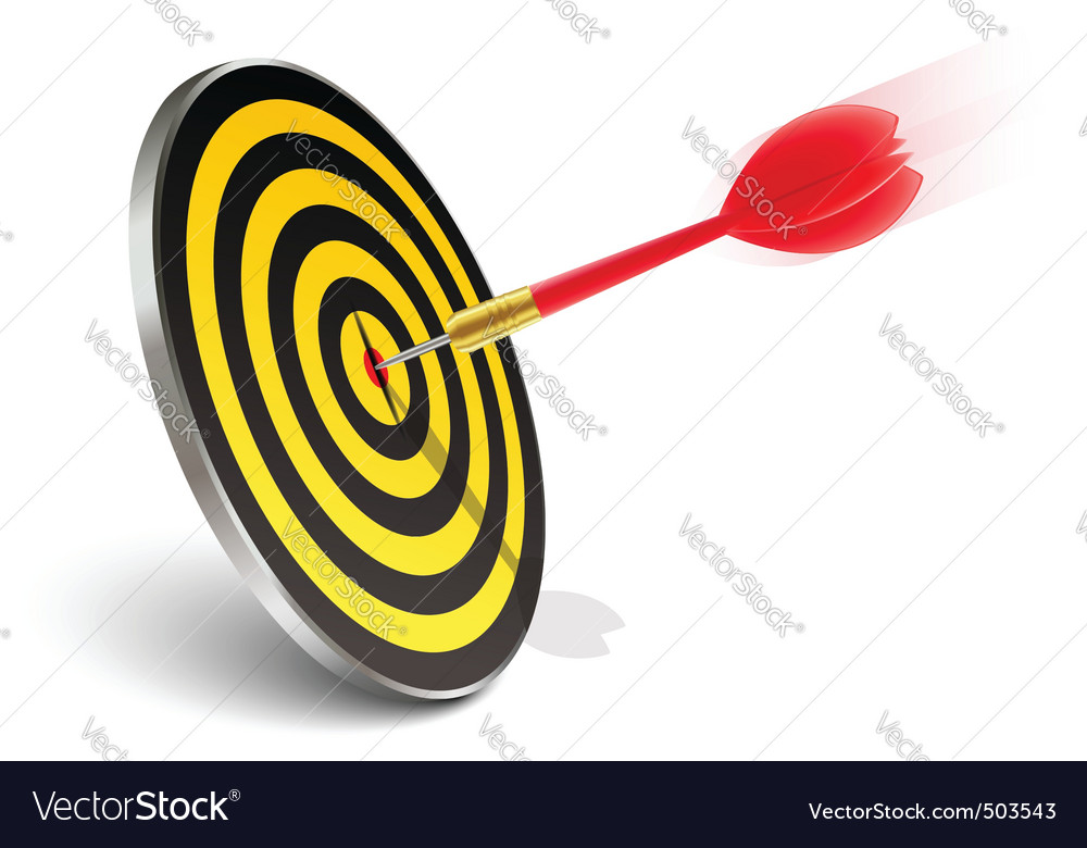Red dart hitting the target vector | Price: 1 Credit (USD $1)
