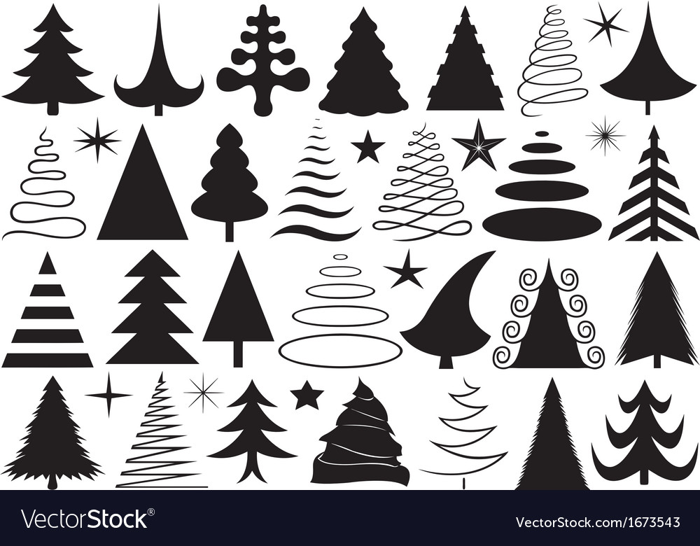 Set of different christmas trees vector | Price: 1 Credit (USD $1)