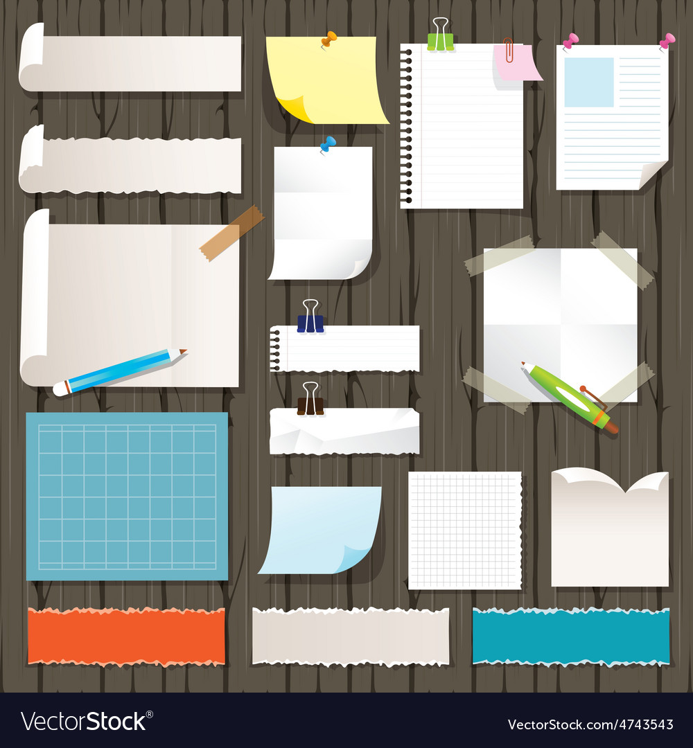 Various kind of paper objects on wood background vector