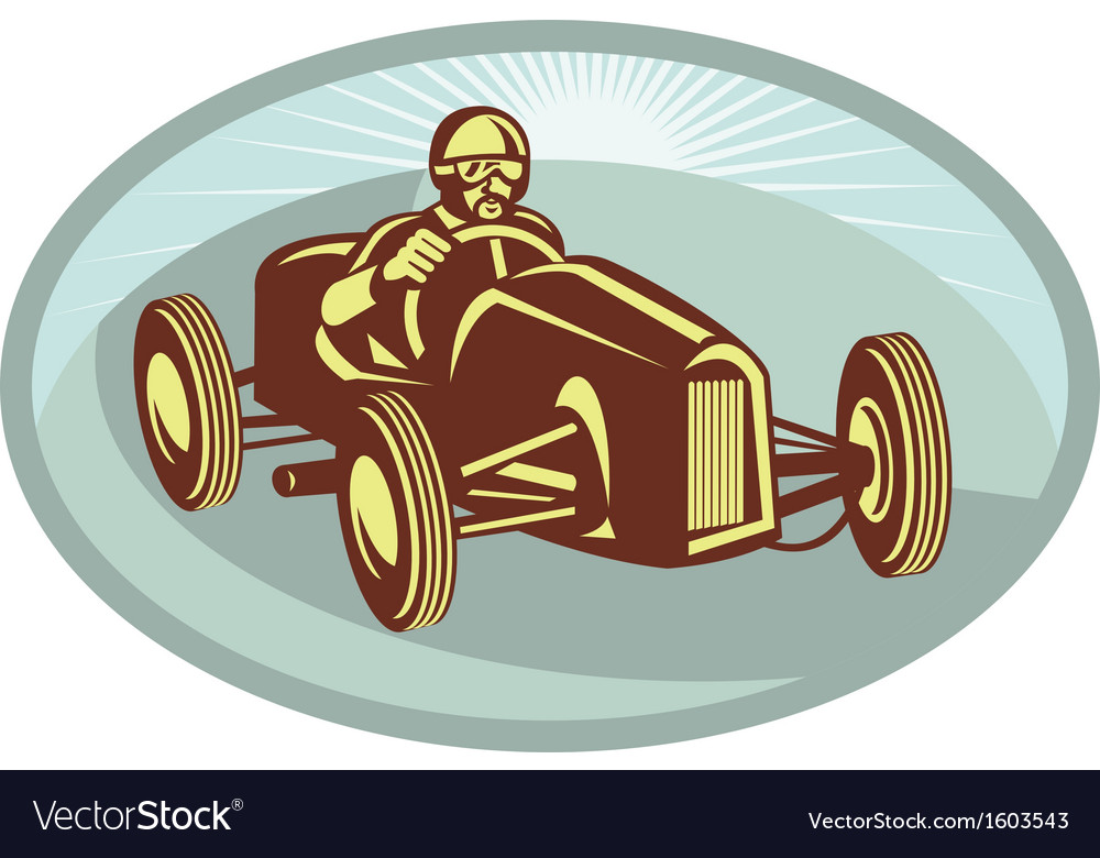 Vintage race car driver racing with sunburst vector | Price: 1 Credit (USD $1)