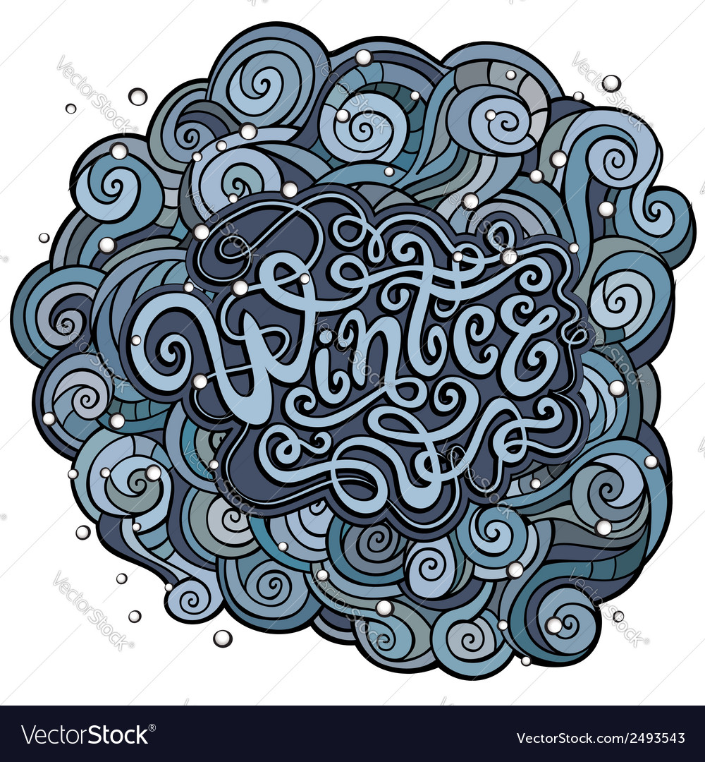Winter hand lettering with curled background vector | Price: 1 Credit (USD $1)