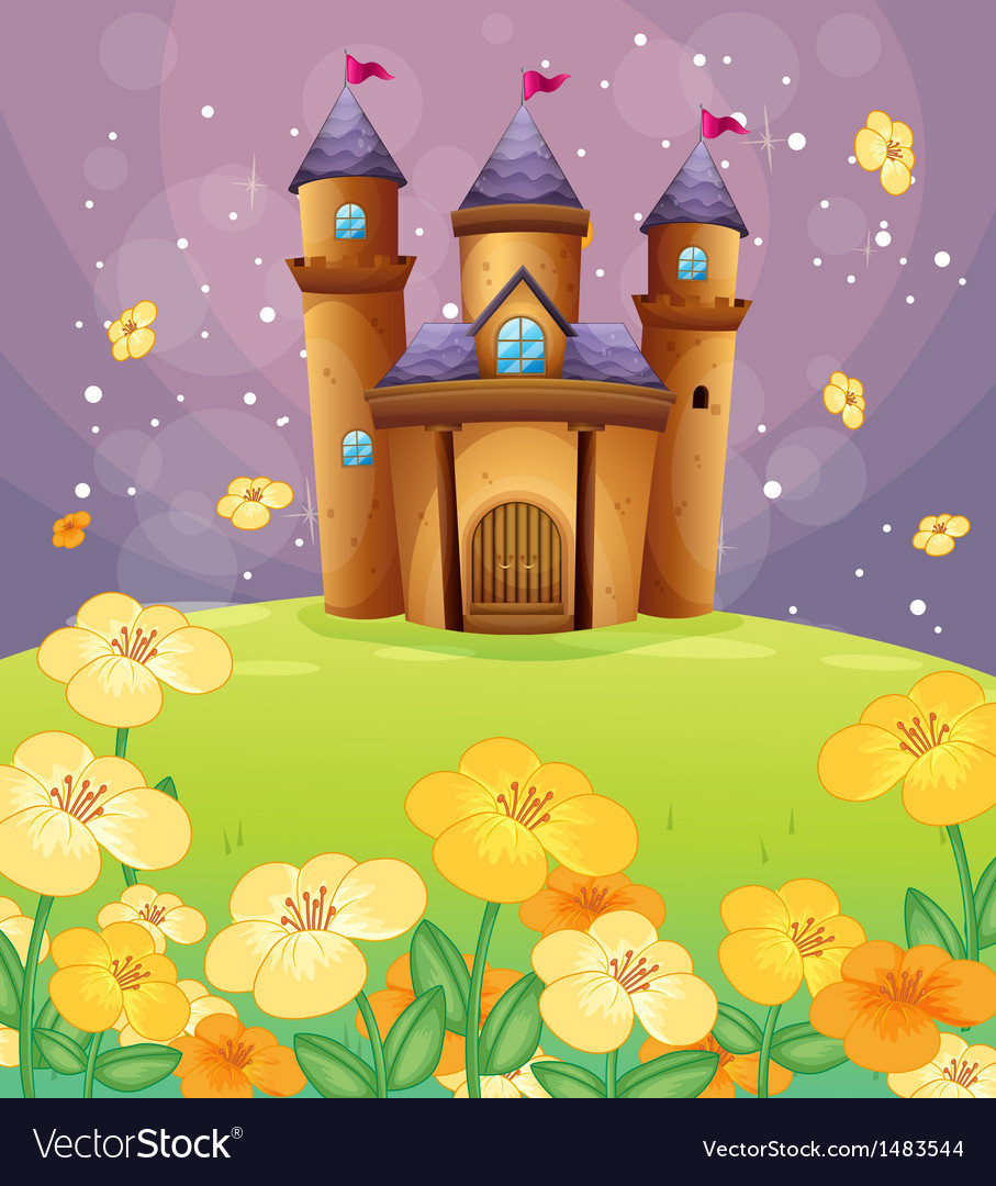A beautiful castle in the fields vector | Price: 1 Credit (USD $1)