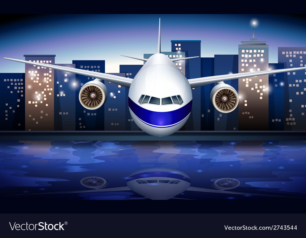 A plane near the tall buildings vector | Price: 3 Credit (USD $3)