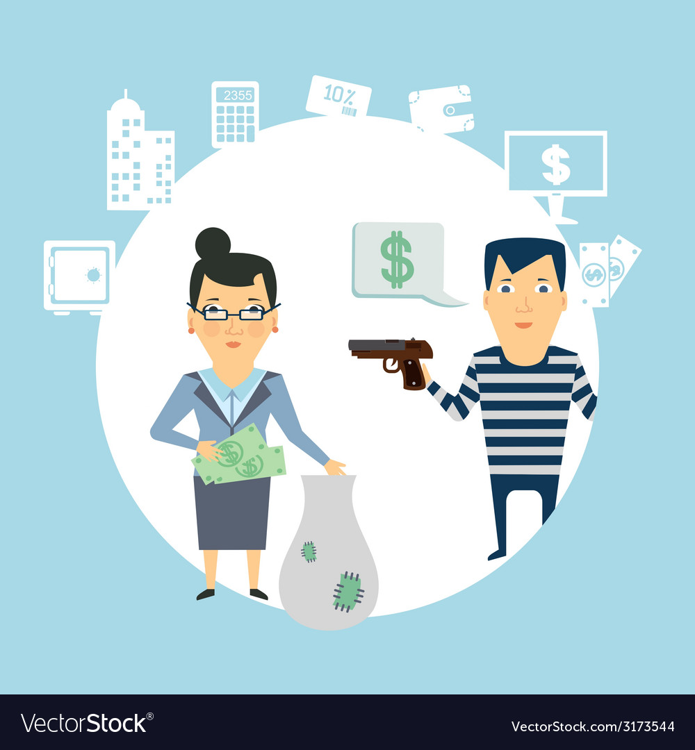 Bank robbery vector | Price: 1 Credit (USD $1)
