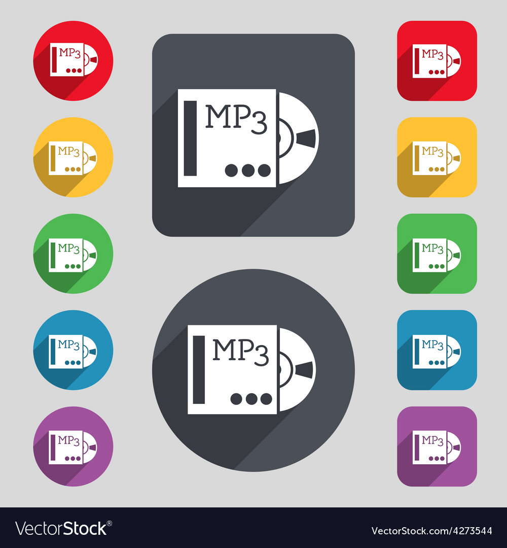 Mp3 player icon sign a set of 12 colored buttons vector | Price: 1 Credit (USD $1)