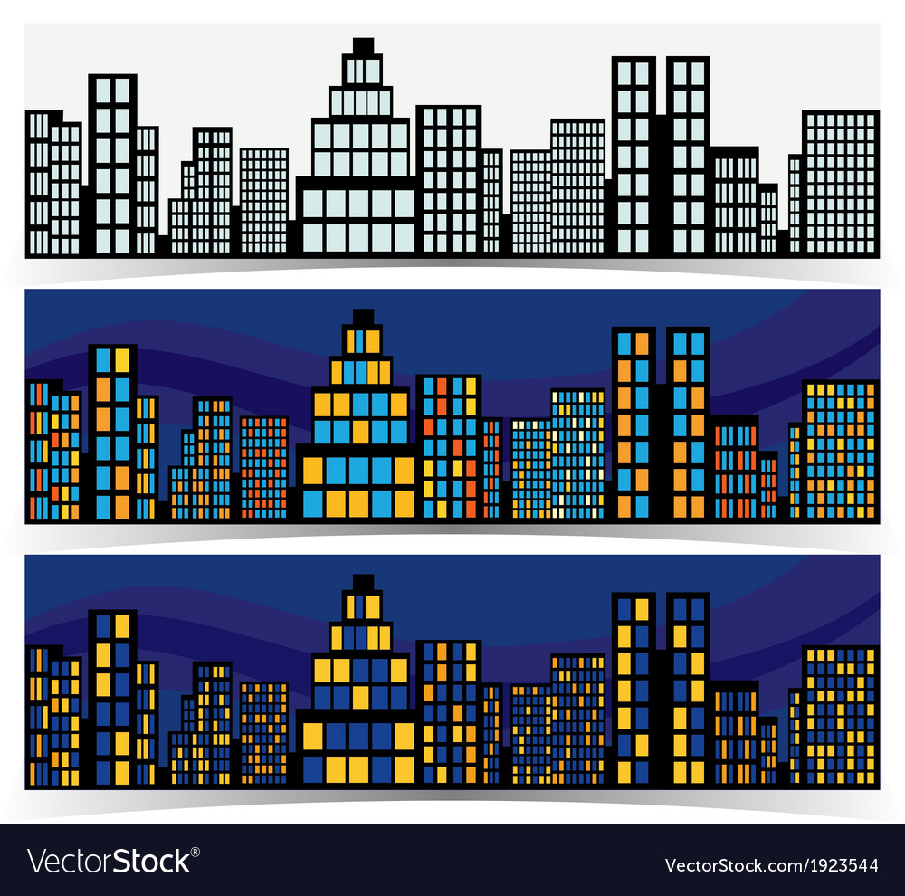 Night downtown banners vector | Price: 1 Credit (USD $1)