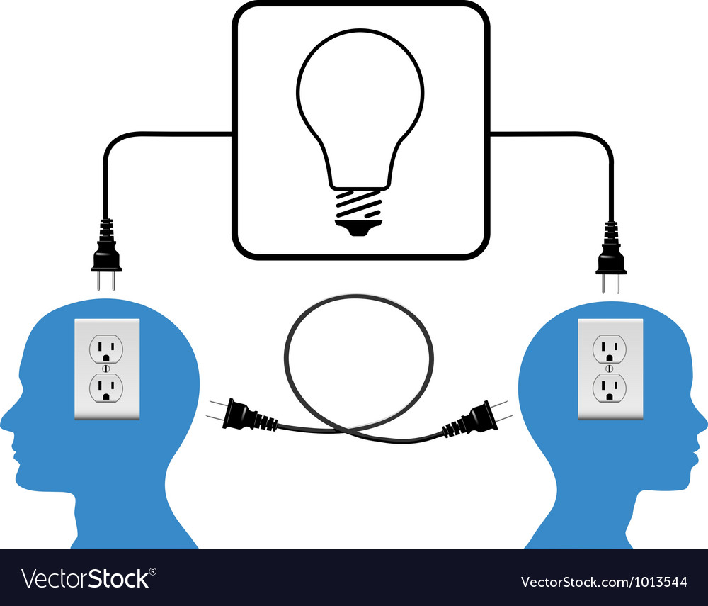 Plug in people join in loop light connection vector | Price: 1 Credit (USD $1)
