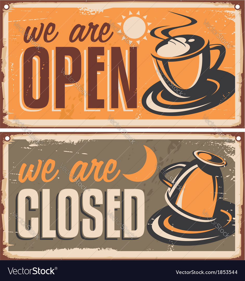 Retro door signs for coffee shop or cafe bar vector | Price: 1 Credit (USD $1)