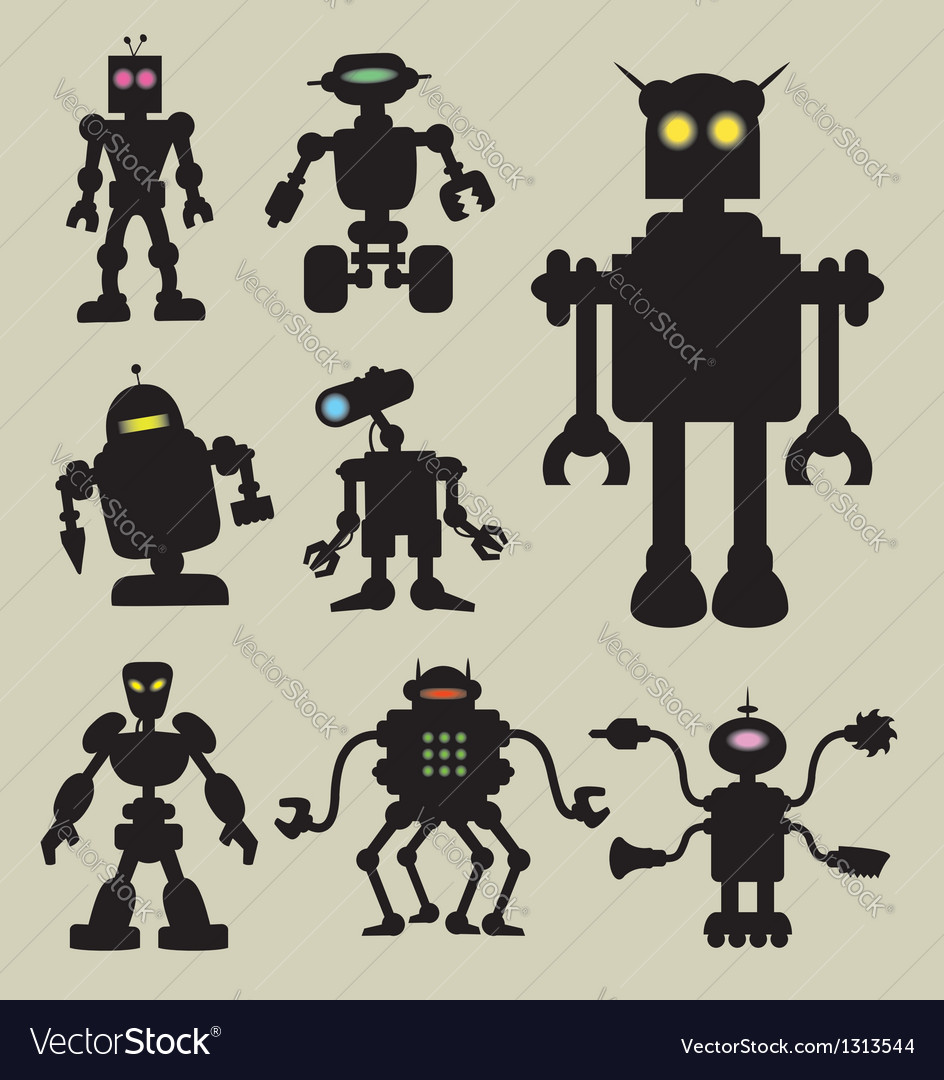 Robot silhouettes vector   Price: 1 Credit (USD $1)