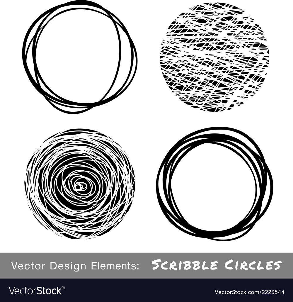 Set of hand drawn scribble circles vector | Price: 1 Credit (USD $1)