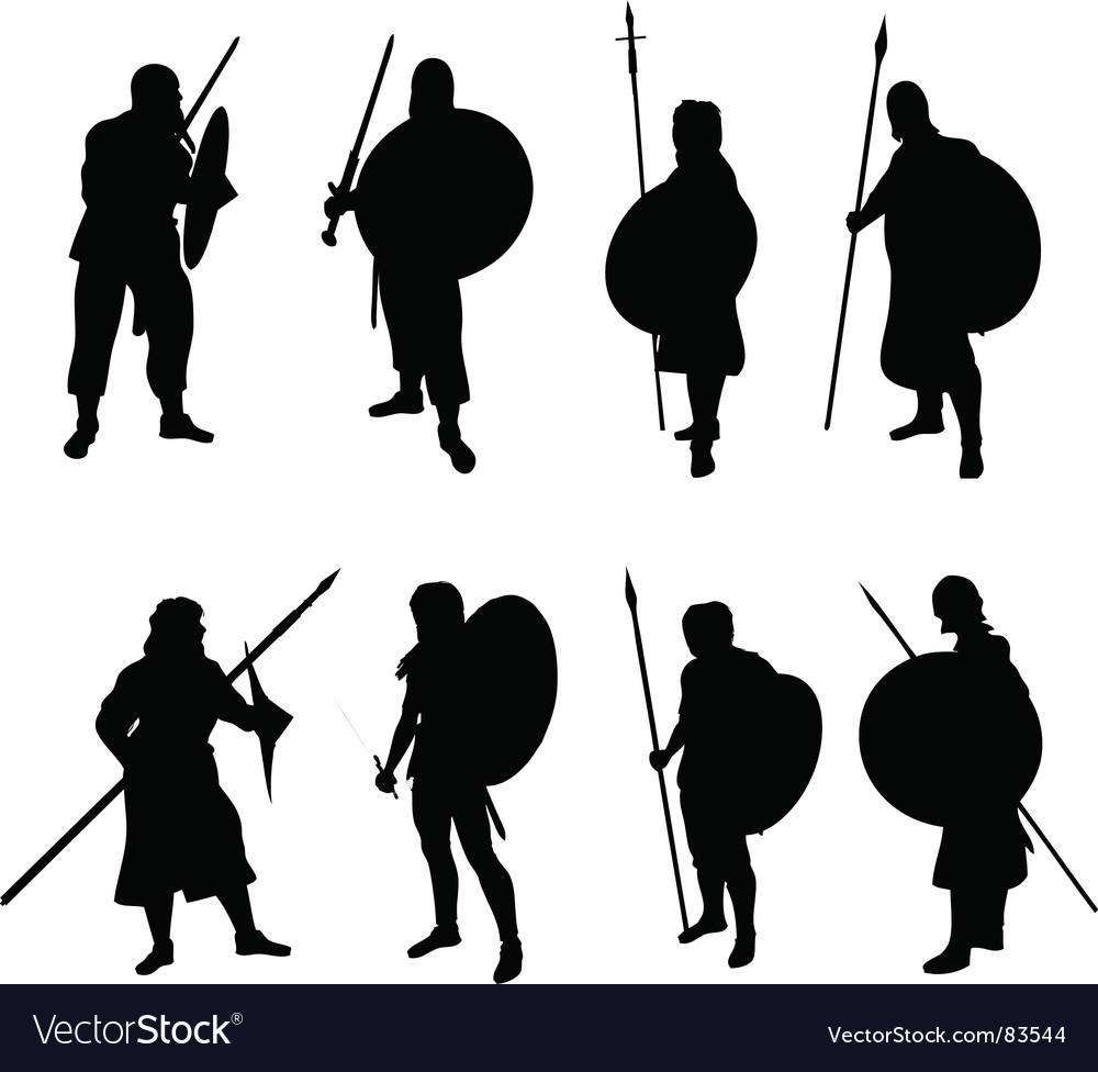Warrior silhouettes vector | Price: 1 Credit (USD $1)
