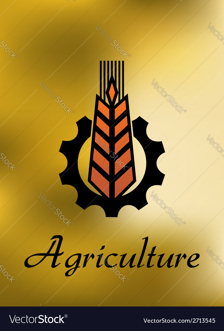 Agriculture emblem with gear and ear vector | Price: 1 Credit (USD $1)