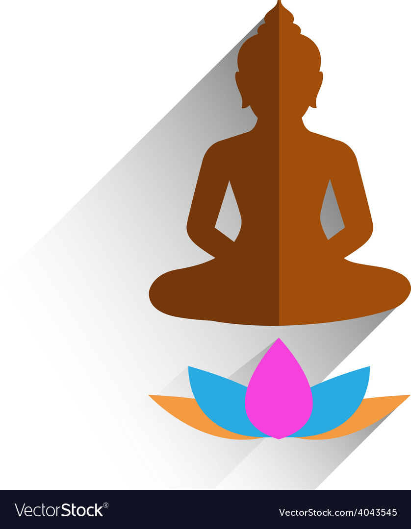 Budha sitting on lotus flat design vector | Price: 1 Credit (USD $1)
