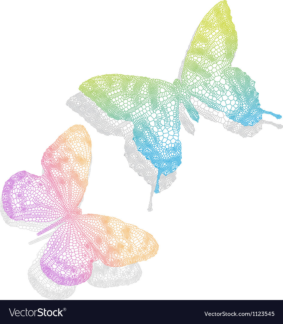 Colorful butterflies with shadow vector | Price: 1 Credit (USD $1)