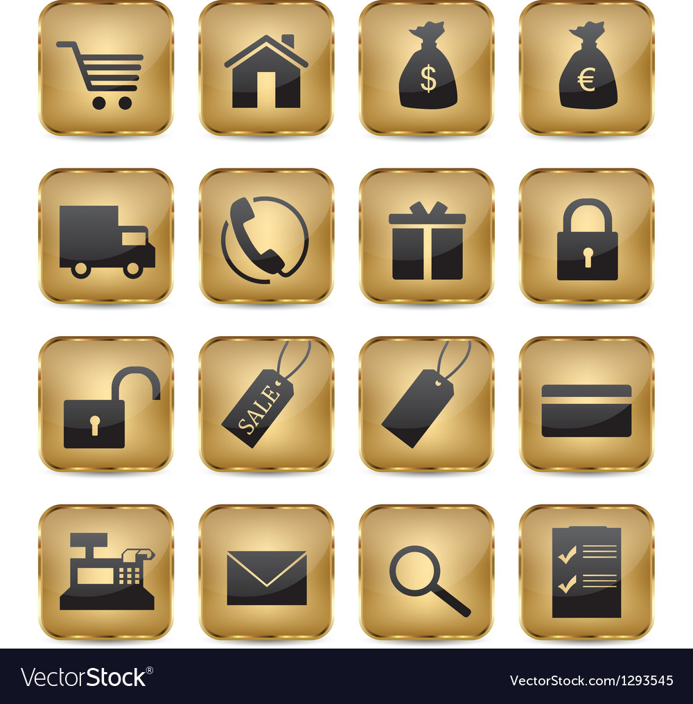Golden shop icons vector | Price: 1 Credit (USD $1)