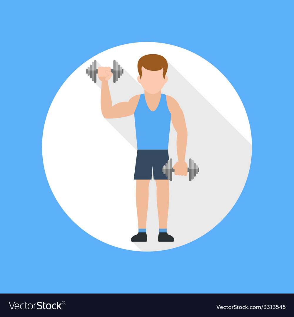 Man doing exercises with barbell vector | Price: 1 Credit (USD $1)