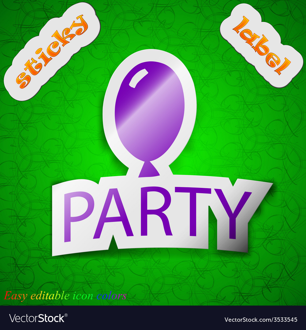 Party icon sign symbol chic colored sticky label vector | Price: 1 Credit (USD $1)