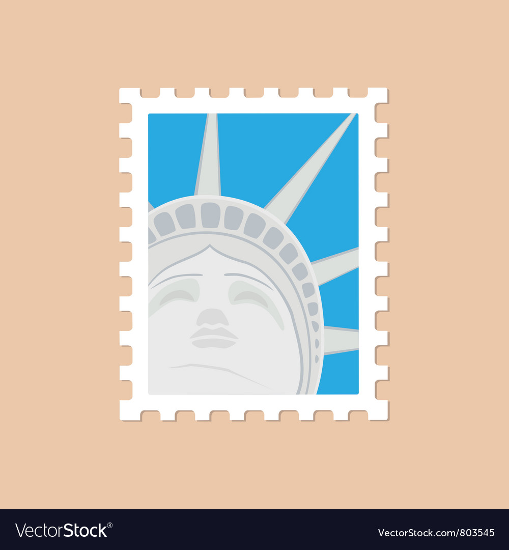 Postage stamp with the statue of liberty vector | Price: 1 Credit (USD $1)