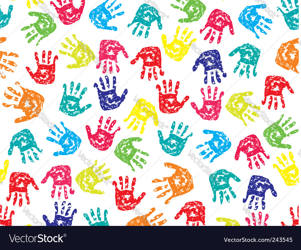 Seamless pattern prints of hands vector | Price: 1 Credit (USD $1)