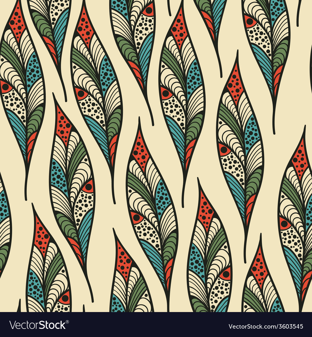 Seamless pattern with bright feathers vector | Price: 1 Credit (USD $1)
