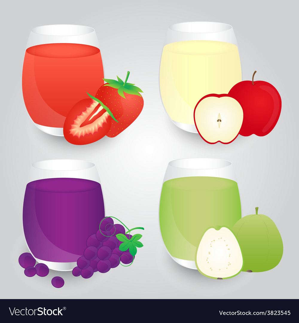 Set of fruits juice glasses on background vector | Price: 1 Credit (USD $1)