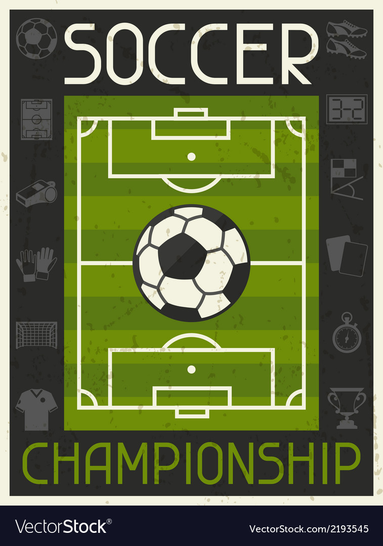 Soccer championship retro poster in flat design vector | Price: 1 Credit (USD $1)