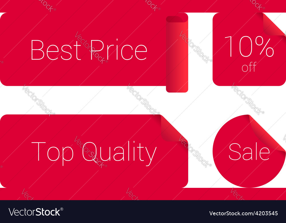 Stylish set of red sticker vector | Price: 1 Credit (USD $1)