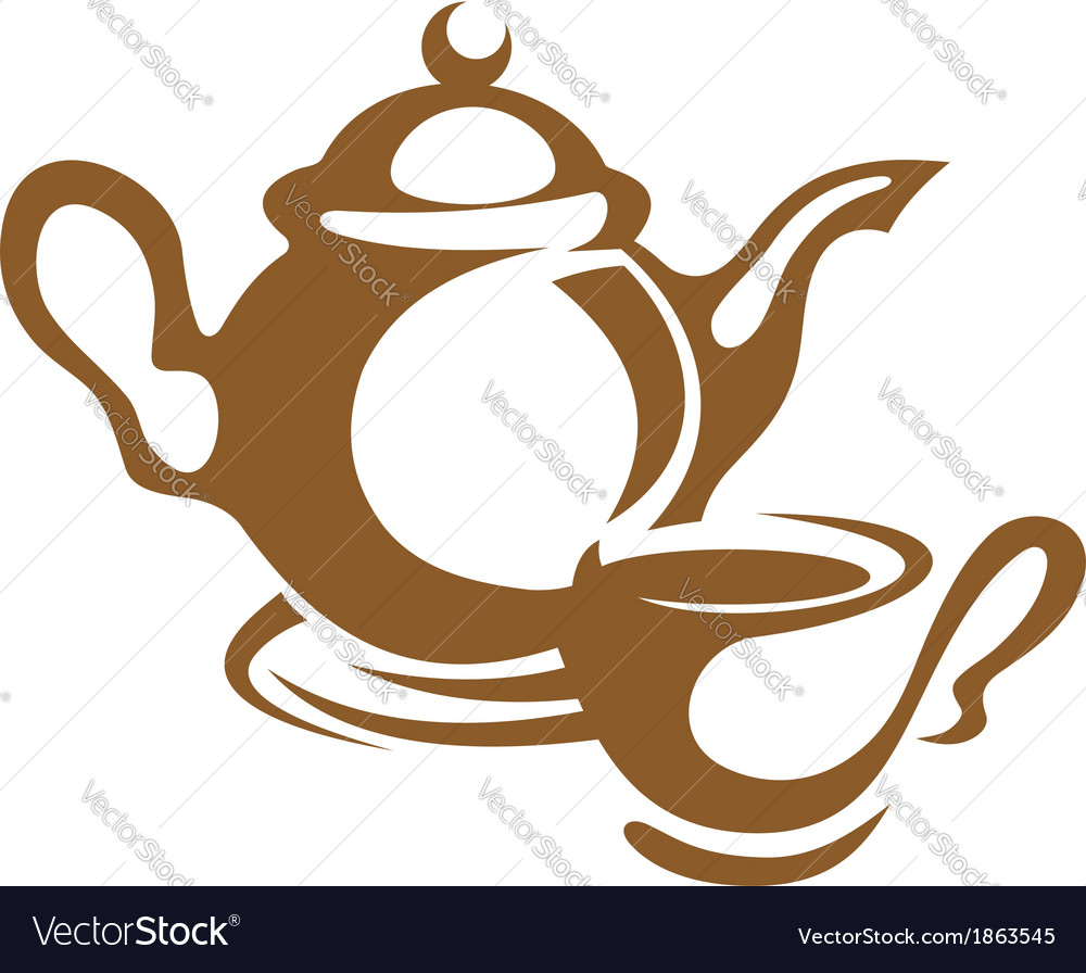 Teapot cup and saucer icon in brown vector | Price: 1 Credit (USD $1)