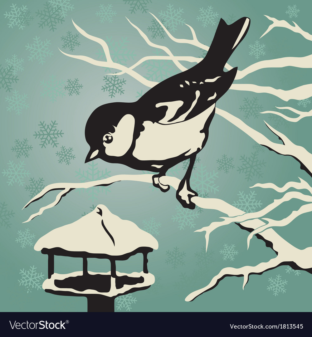 Titmouse sitting on a branch near the feeder vector | Price: 1 Credit (USD $1)