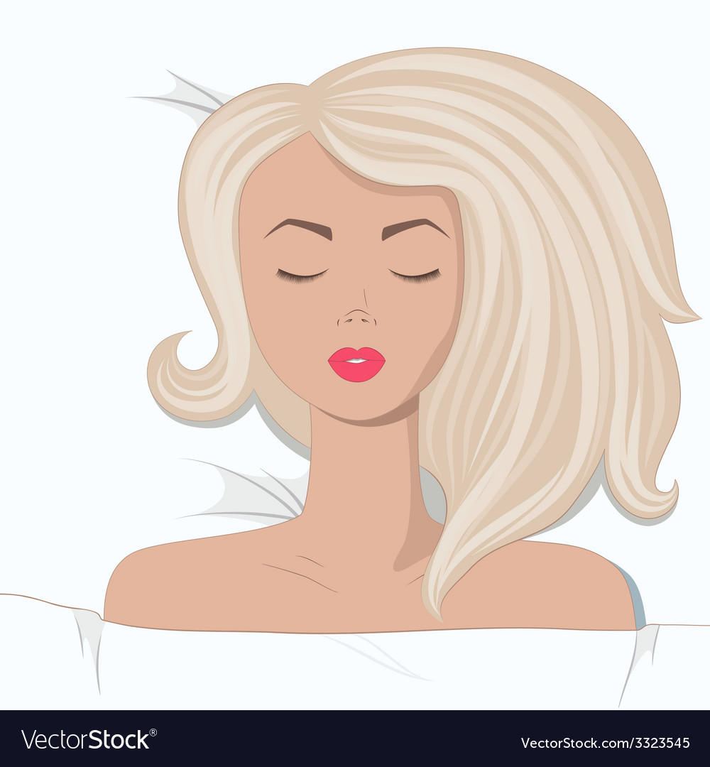 Young blonde girl is sleepping in the bed vector | Price: 1 Credit (USD $1)