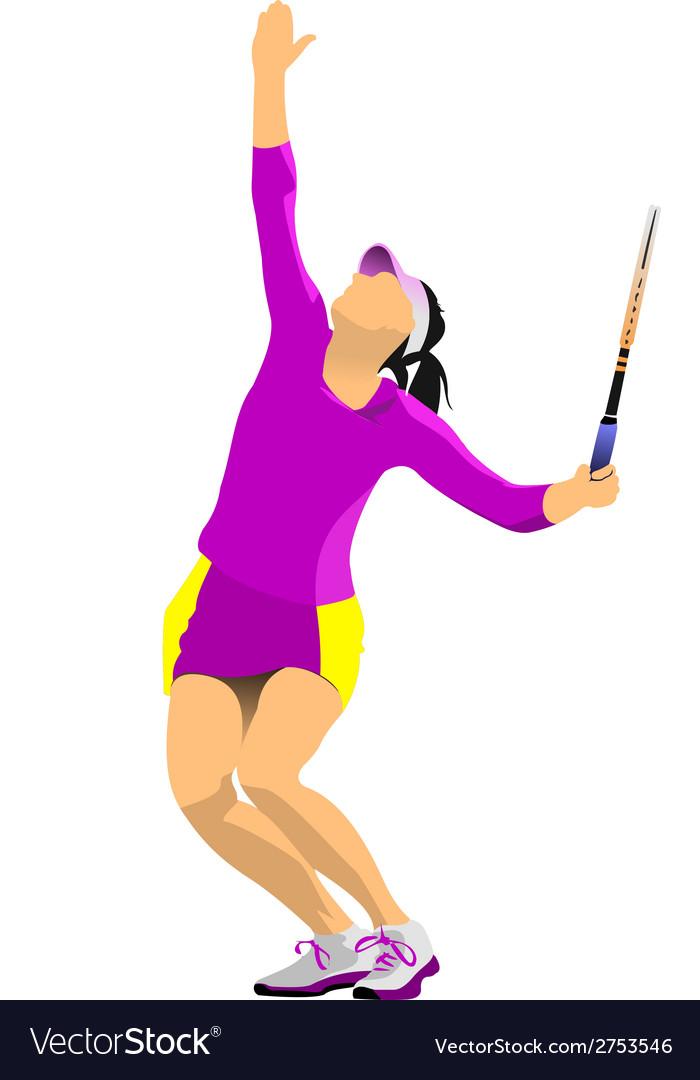 Al 0724 woman tennis 01 vector | Price: 1 Credit (USD $1)